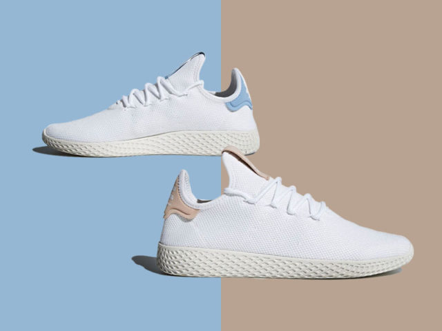 New colorways for the Pharrell x adidas Tennis Hu drop today